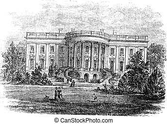 White house in Washington, D.C, America, during the 1890s, vintage engraving. Old engraved illustration of the South facade of the White House.