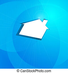 white house on a blue background, the concept of real estate.