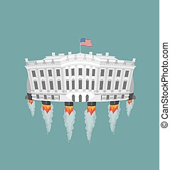 White houserocket turbine. USA President Residence in space. American National Palace flies. Government building connected to future. Fantastic main Landmarks Washington dc.