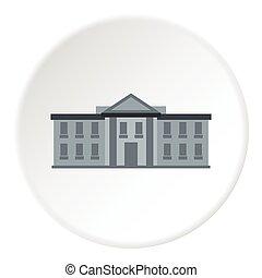 White house USA icon, flat style