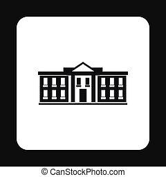 White house USA icon, simple style