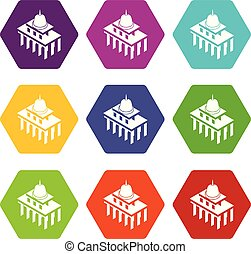 White house usa icons set 9 vector
