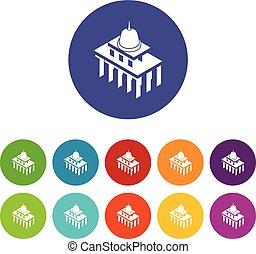 White house usa icons set vector color