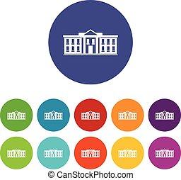 White house USA set icons