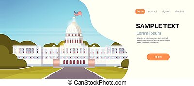 White House Washington DC United States of America flag american government building exterior facade architecture president residence concept flat horizontal copy space