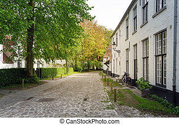 White houses in the Beguinage (Begijnhof) in Bruges