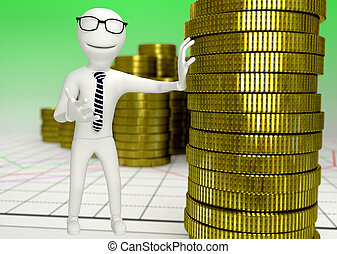 white human character with a stack of coins
