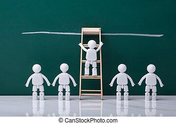 White Human Figure Climbing Wooden Ladder