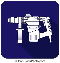 White hummer drill icon on a blue background