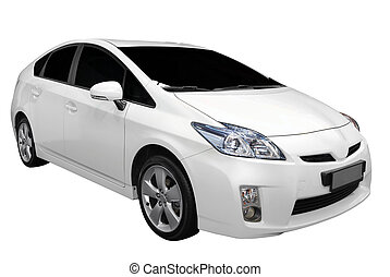 white hybrid car isolated