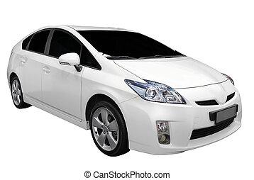white hybrid car isolated