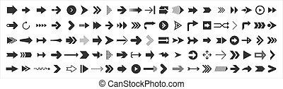 white., icônes, isolé, vecteur, arrows., curseur, toile, flèche, 100, noir, grand, ensemble