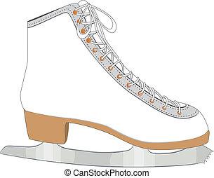 White ice skate - Ice skate for figure skating on white...