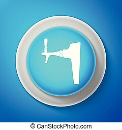 White icon isolated on blue background. Circle blue button with white line. Vector Illustration