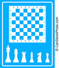 White icon of chess on a blue background in frame
