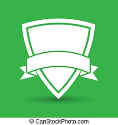 white icon of shield with vector ribbon on a green background