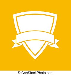 white icon of shield with vector ribbon on an yellow background