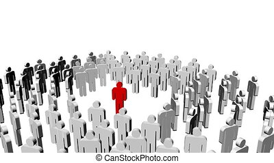 White icon people and a red one in the center. Leadership