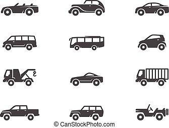 white., iconen, auto, &, black