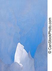 White icy peak on glacier