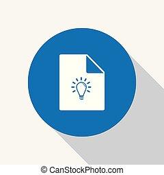 White idea bulb icon on white blank paper.