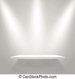White illuminated shelf on the wall. Vector mockup
