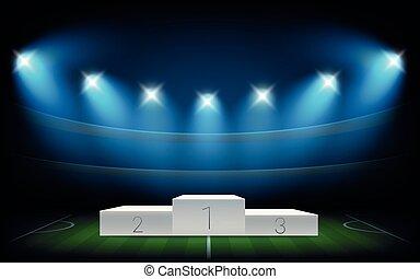 White illuminated sport podium. Soccer arena illuminated with spot lights
