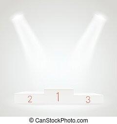 White illuminated sport podium. Vector mockup. Award ceremoty vector template