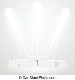 White illuminated sport podium. Vector mockup. Award...