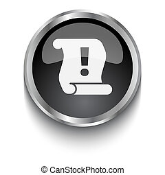 White Important Information symbol on black web button