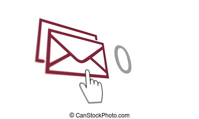 """White index finger and many emails"" - ""Online emails, ut..."