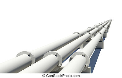 White industrial pipes stretching into distance. Isolated on white background