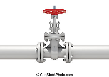White industrial valves and pipe