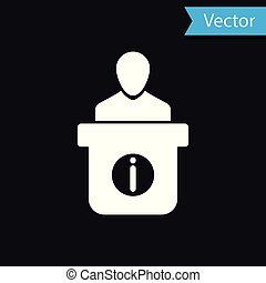 White Information desk icon isolated on black background. Man silhouette standing at information desk. Help person symbol. Information counter icon. Vector Illustration