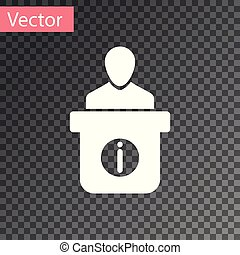 White Information desk icon isolated on transparent background. Man silhouette standing at information desk. Help person symbol. Information counter icon. Vector Illustration