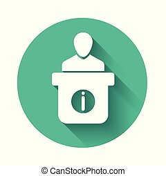 White Information desk icon isolated with long shadow. Man silhouette standing at information desk. Help person symbol. Information counter icon. Green circle button. Vector Illustration