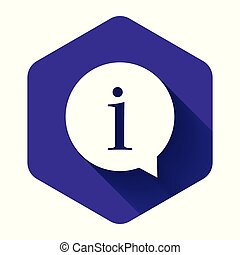 White Information icon isolated with long shadow. Purple hexagon button. Vector Illustration