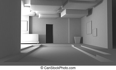 White Interior, Abstract