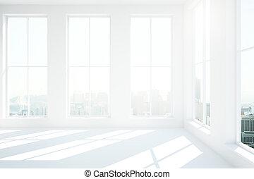 White interior design - Minimalistic white interior with...