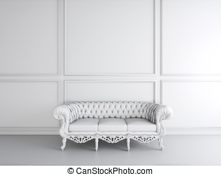 White interior design of living room with sofa