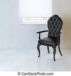 White interior design with black b