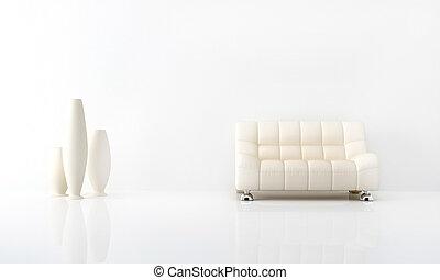 White interior - Modern white sofa in white luminous ...
