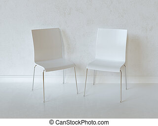 White Interior Room With Two Chairs