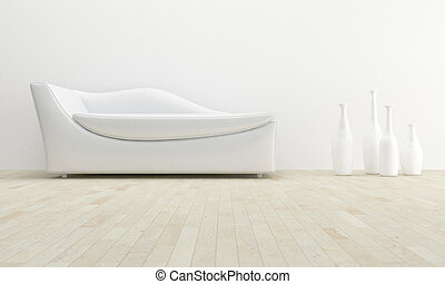 White interior - White chaise lounge in luminous house room