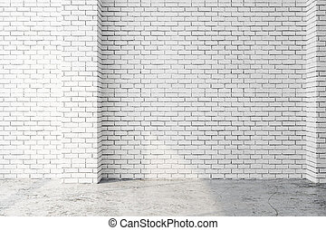 White interior with empty wall