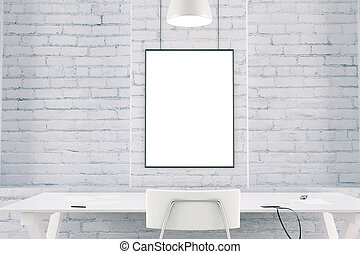White interior with table, chair, brick wall and blank picture frame, mock up