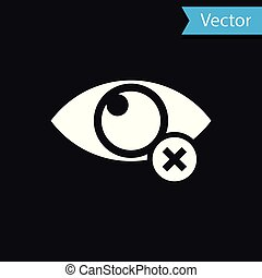 White Invisible or hide icon isolated on black background. Vector Illustration