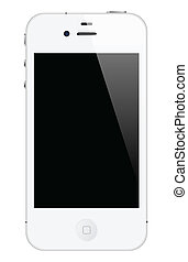 white iphone 4 - illustration of iphone 4 white color,...