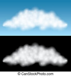 White isolated cloud vector template with black and blue background.