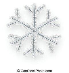 White isolated coniferous snowflake. - White isolated...